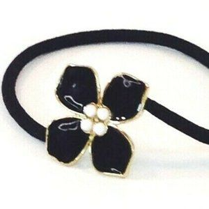 J. Crew Black Enamel Flower Hair Elastic Tie